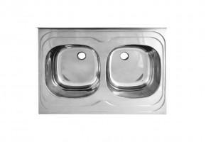 Двукоритна мивка с борд 800/600/160