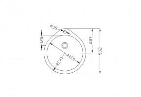 Кръгла мивка 490/532/160 за вграждане