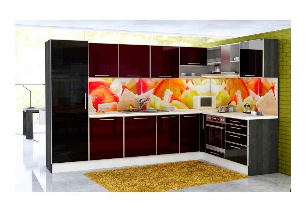 Ъглова кухня 18 с принт стъкло