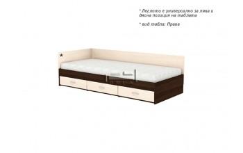 Единично легло + три чекмеджета и странична табла