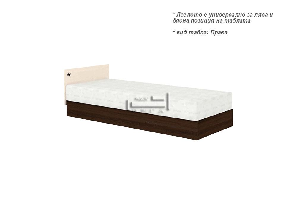 Единично легло с пружинен механизъм за еднолицев матрак