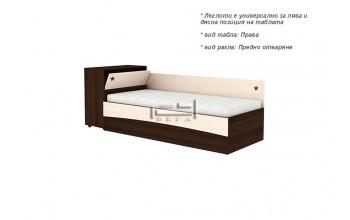 Единично легло с високи табли и амортисьорен механизъм за хора над 55 г